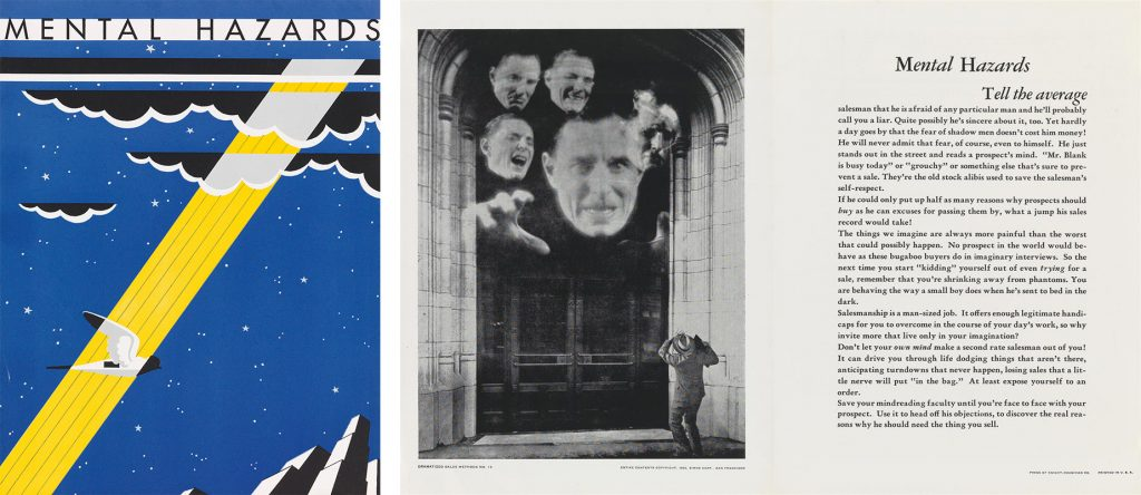 An Art Deco cover featuring ta bird flying with a spotlight on it alongside a shot of the inside which features a photograph of floating heads scaring a man knocking on a door and text.