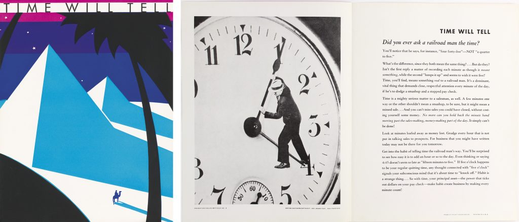 An Art Deco cover featuring the Egyptian pyramids alongside a shot of the inside which features a photograph of a man dangling off the hands of a clock and text.