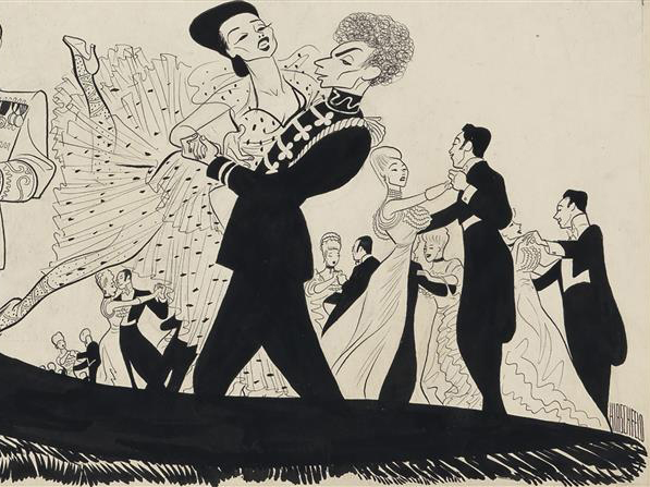 """Merry Widow Waltz"" detail from the caricature illustration from The Merry Widow by Al Hirschfeld."