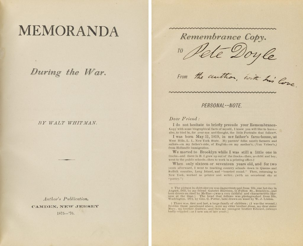 Title page and signed page of Walt Whitman's Memoranda During the War.