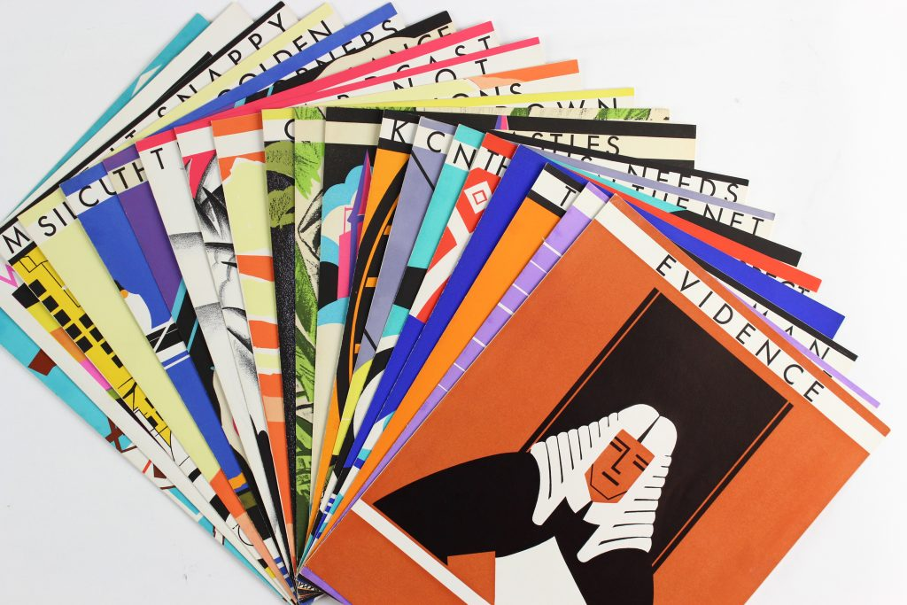 A spread of pamphlets with Art Deco designs on the cover.