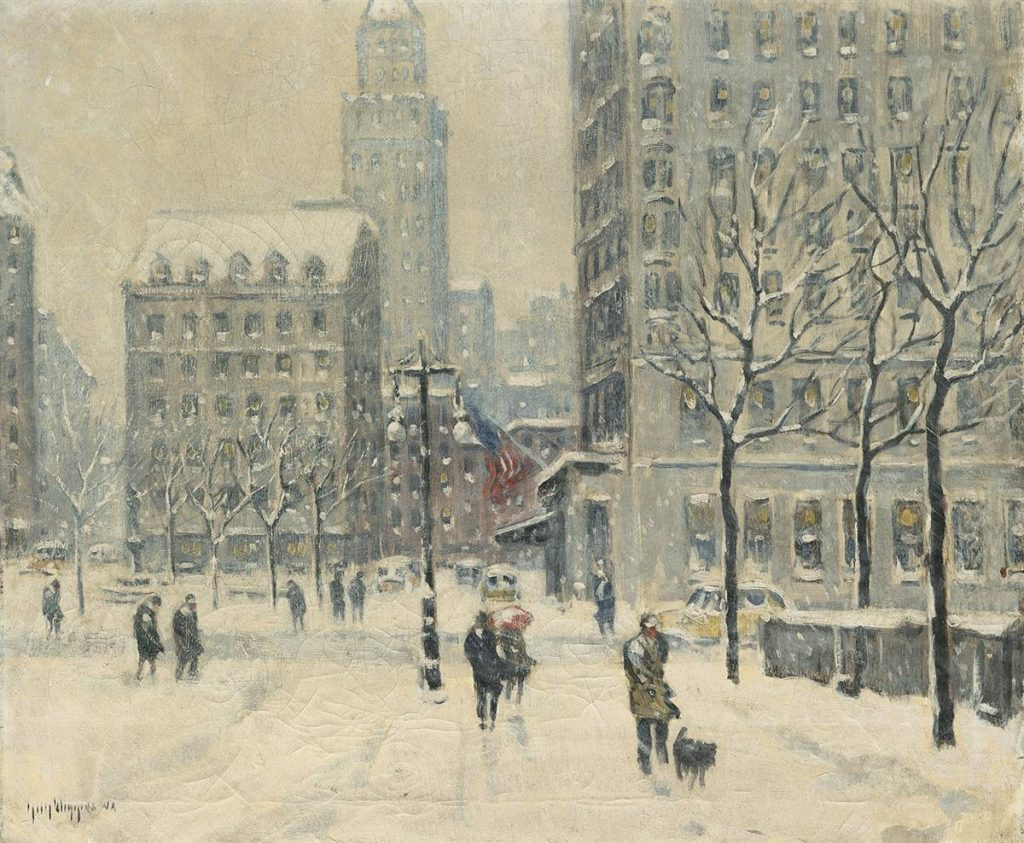 A snowy winter painting of New York City next to the Plaza Hotel.