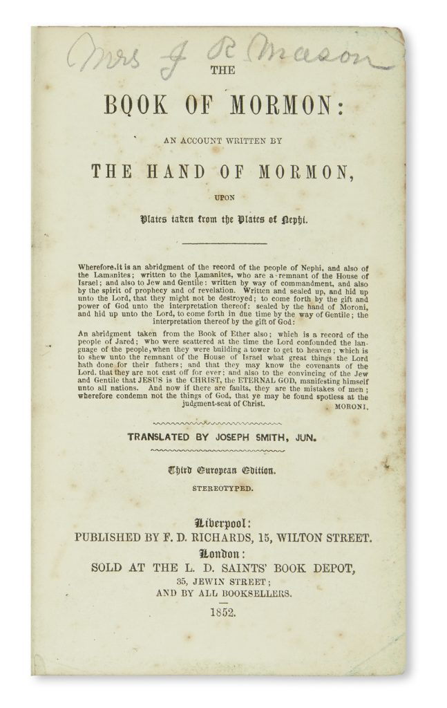 Title page of the 1852 Liverpool Book of Mormon.