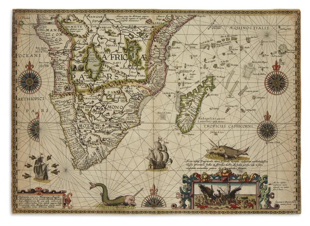 Pertus Plancius' decorative map of the southern half of Africa from 1592-94.