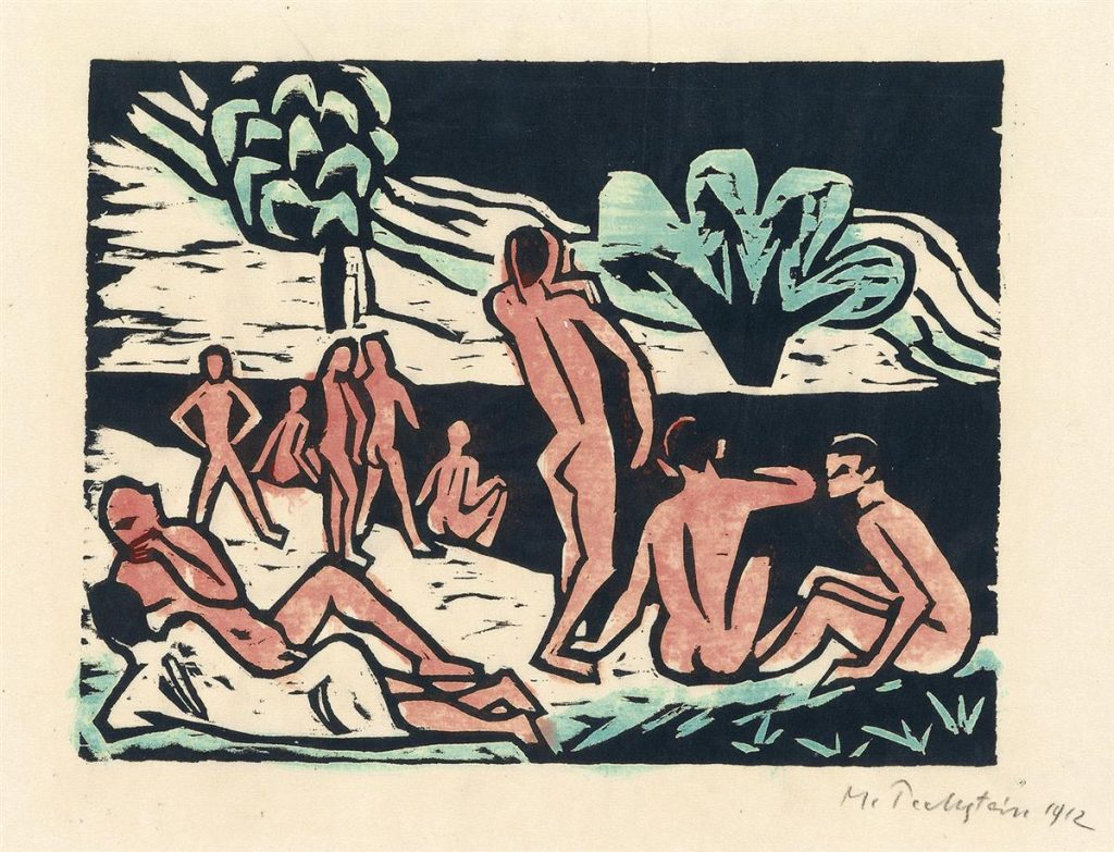 A woodcut print of figures on the beach by Max Pechstein.