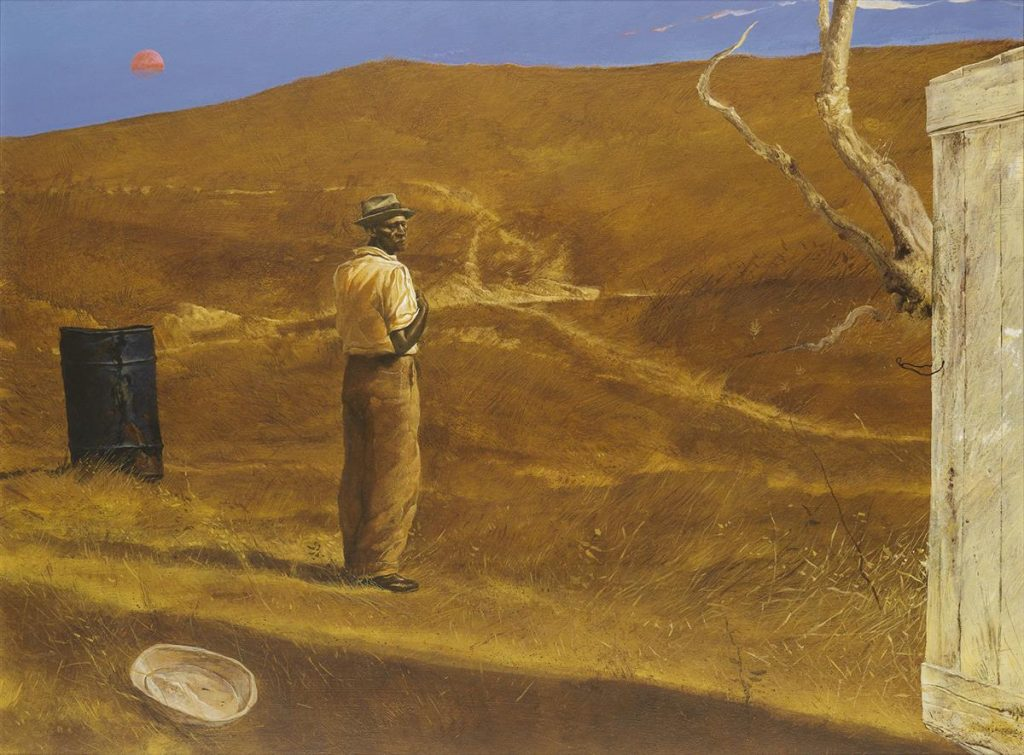A painting of a man looking out onto a desert landscape by Kermit Oliver.