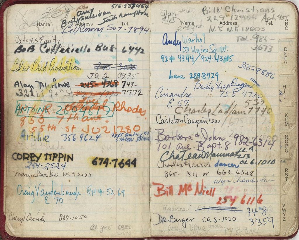 Details of Candy Darling's datebook.
