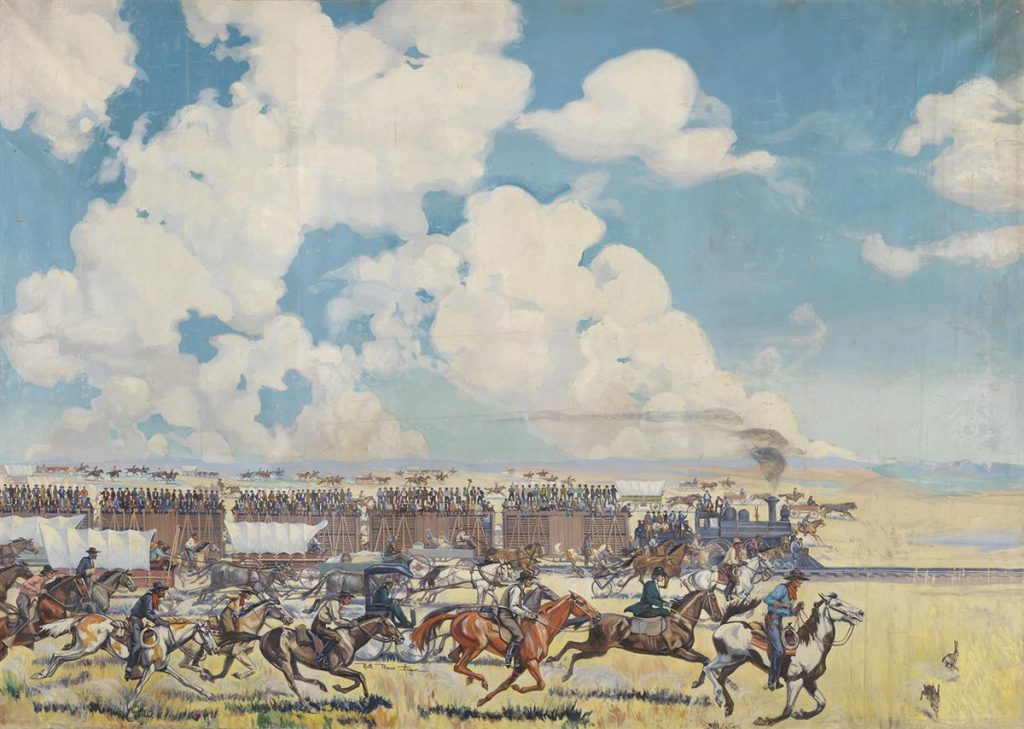 A scene of the Oklahoma Land Rush with a train, stage coaches, and people on horses racing across the canvas.