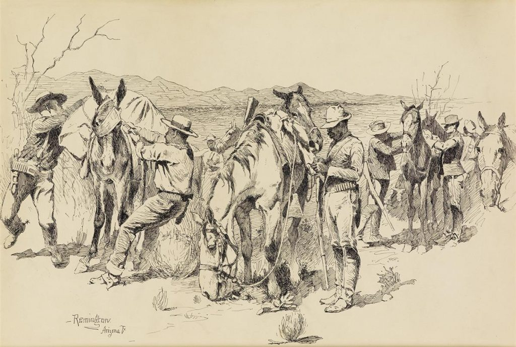 Pen and ink drawing of cowboys tending to their horses by Frederic Remington.