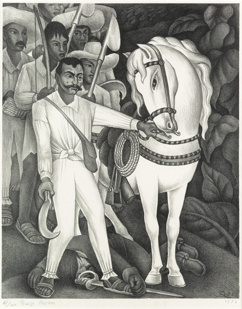 Black and white lithograph print of a soldier and a horse walking by Diego Rivera.