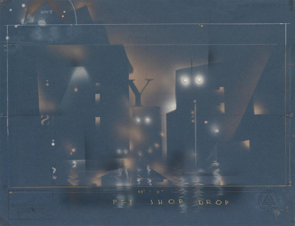 Set design of a city at night for Pal Joey by Joe Mielziner.