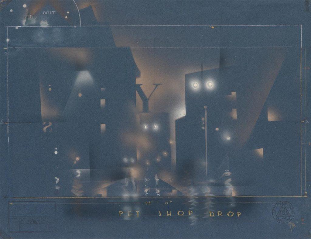 Set design of a city at night for Pal Joey by Joe Mielziner.