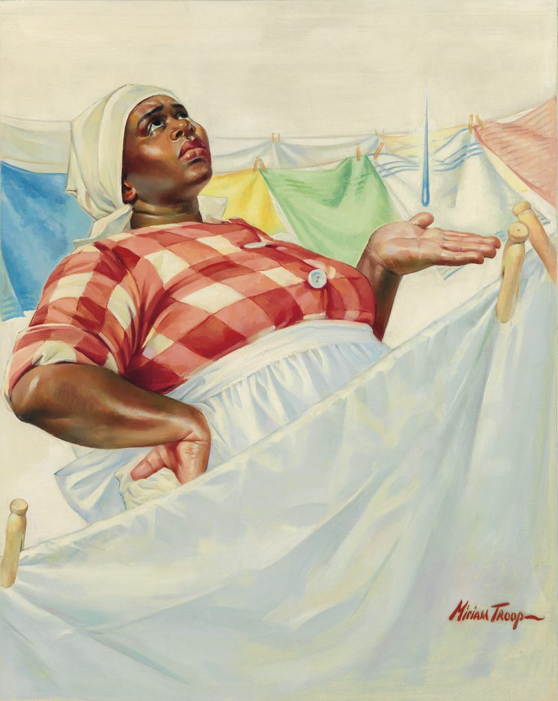 Illustration of a woman handing laundry on a clothes line by Miriam Troop.