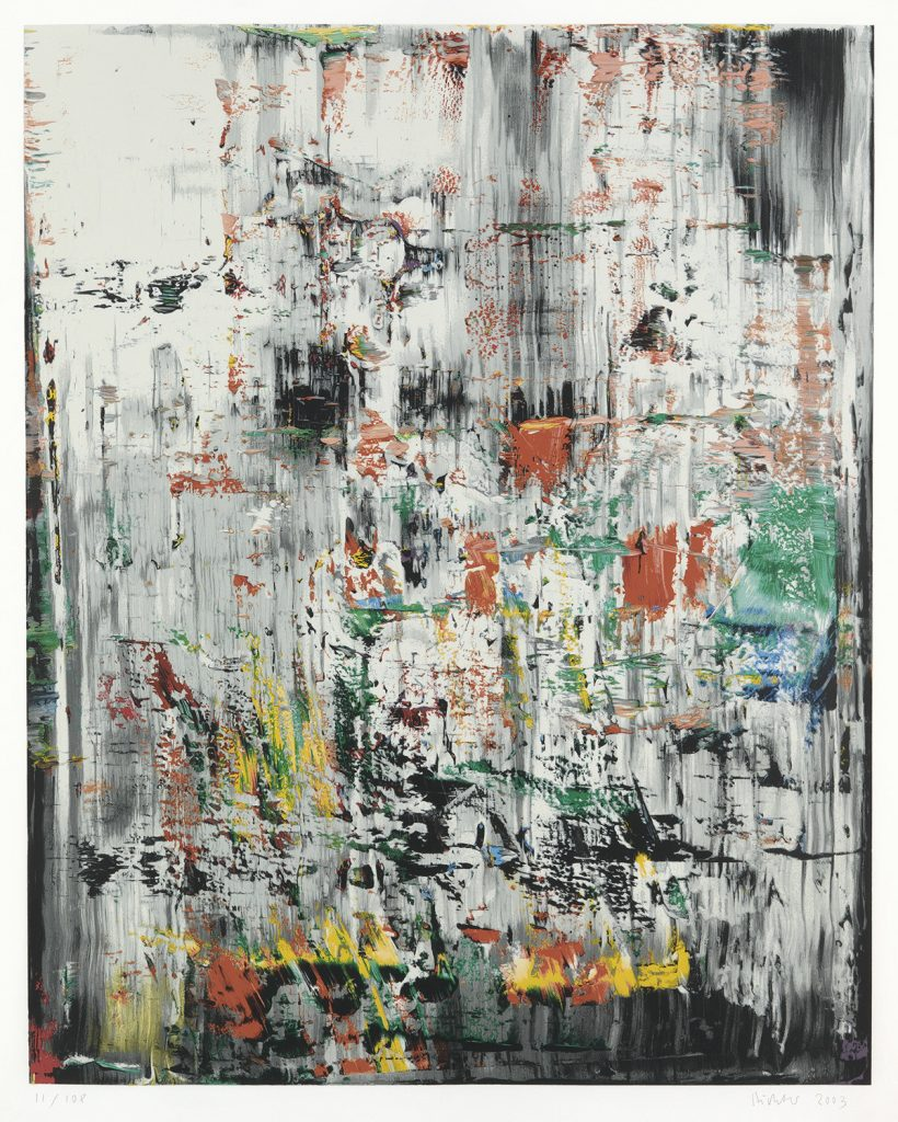 Abstract color screenprint with white, black, red, greed and yellow by Gerhard Richter.