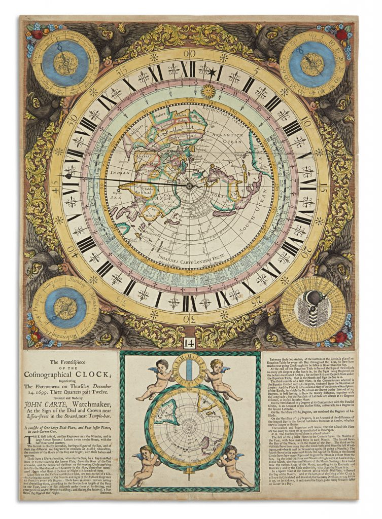 A broadside with an elaborate drawing of a clock with a map in the center by John Carte.