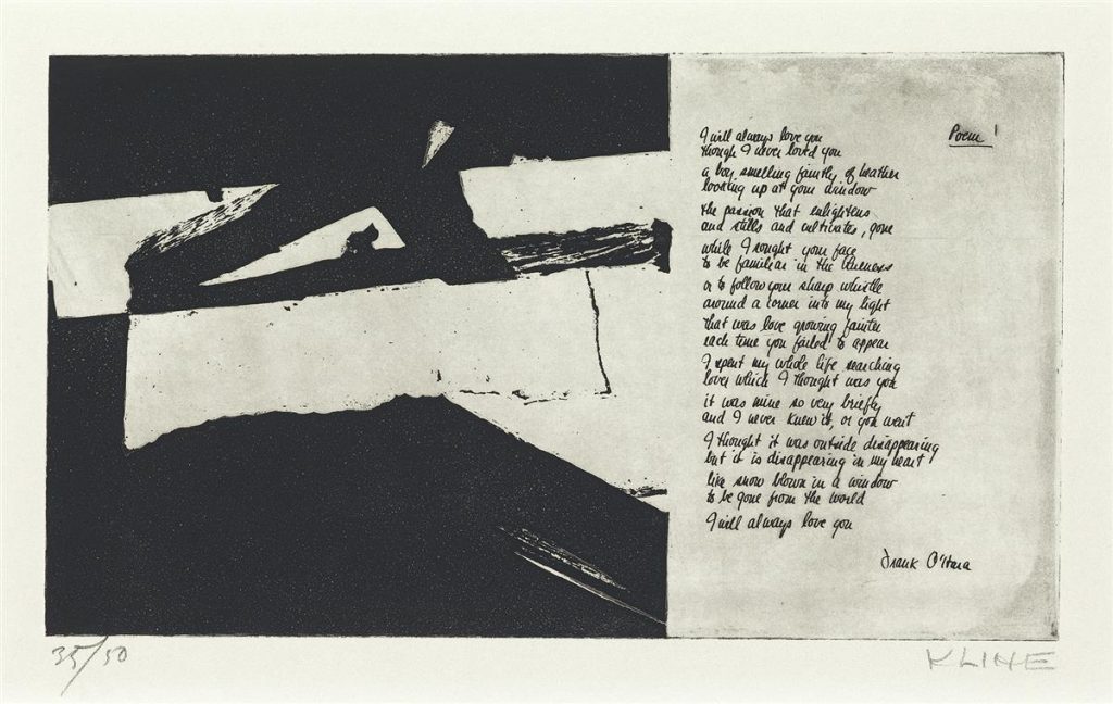 Franz Kline black and white print with writing.