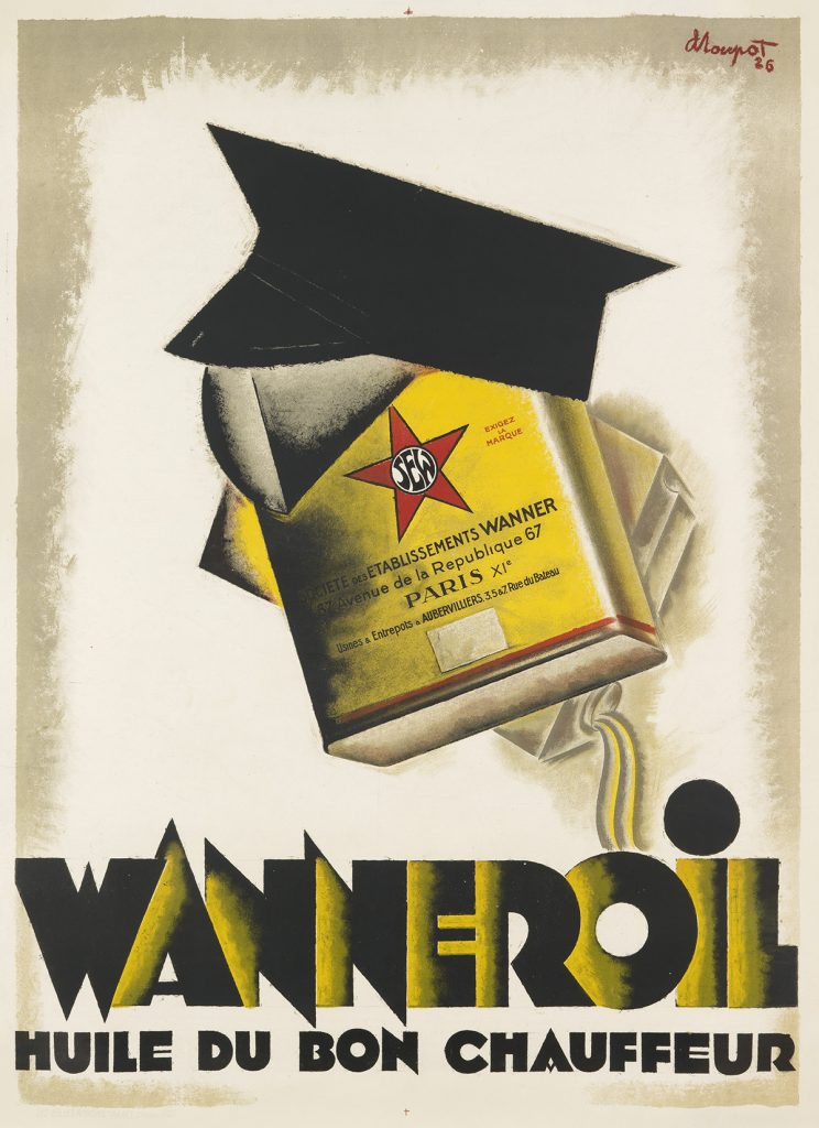 Poster of an illustration of an anthropomorphic can of motor oil made to look like a man wearing a driving hat.