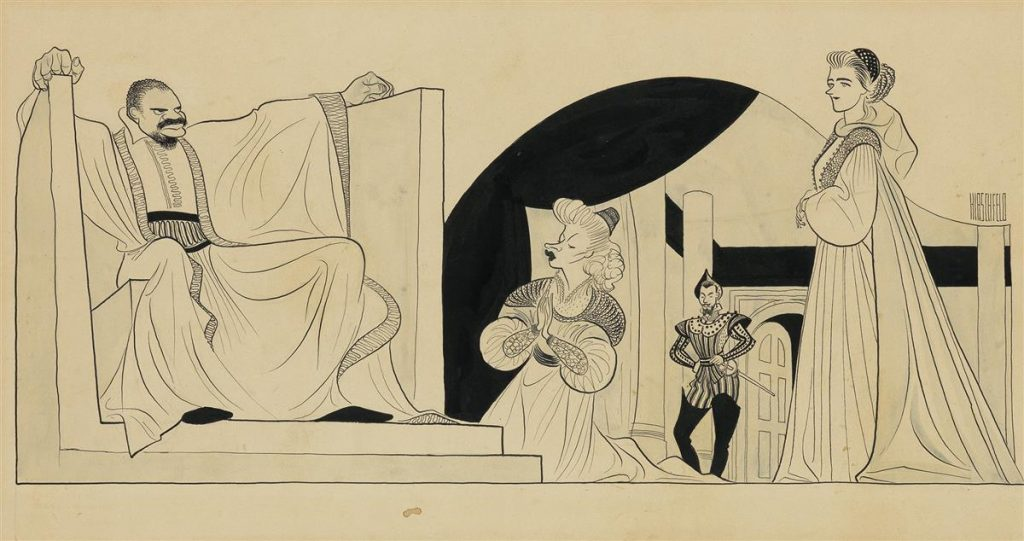 Caricature illustration of Paul Robeson as Othello on Broadway in 1943 by Al Hirschfeld.