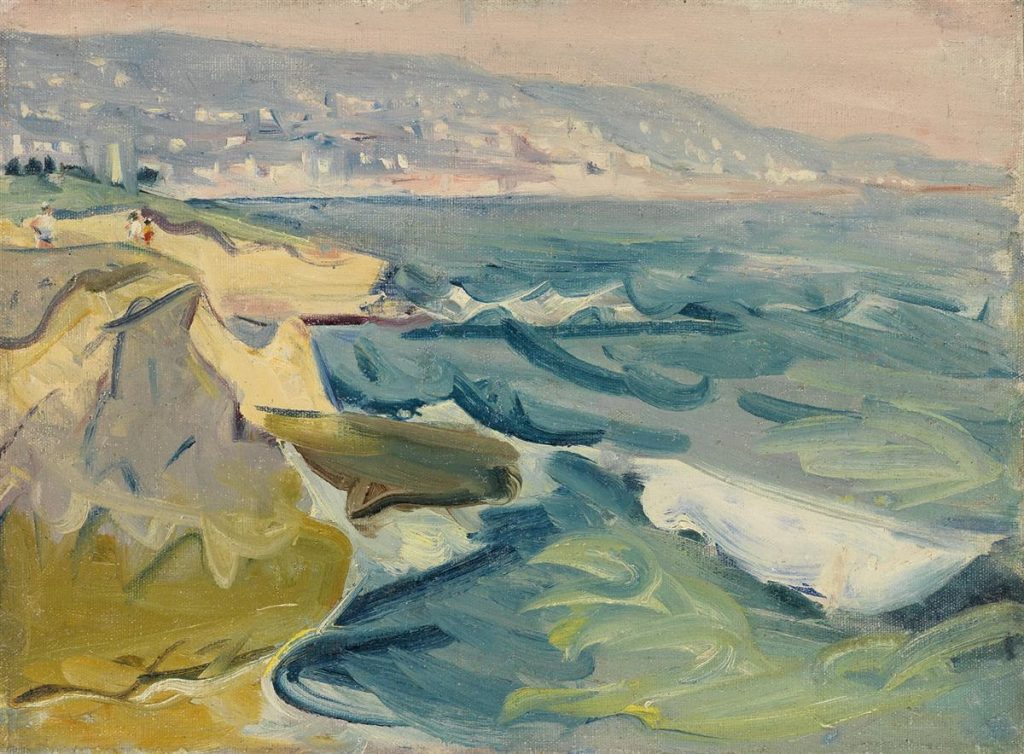 An abstract coastline painting of Laguna Beach by Carl Sprinchorn.