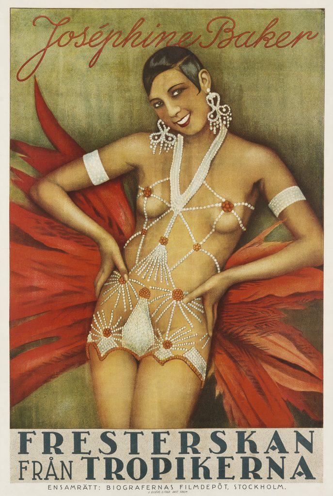 A poster of an illustration of Josephine Baker in a pearl outfit with a feather skirt.