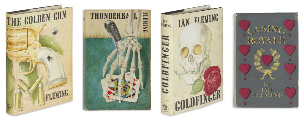 Covers of James Bond novels: The Golden Gun, Thunderball, Goldfinger and Casino Royale by Ian Fleming.