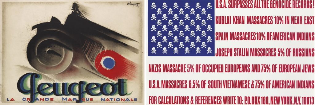 Posters by Charles Loupot featuring a 1926 Peugeot car and a poster by George Maciunas parodying the American flag.