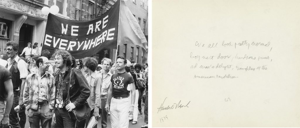 "Photograph of parade goers at a NYC Pride parade with a sign that reads ""We are Everywhere,"" shown with the annotation on the back of the picture by Allan Ginsberg."
