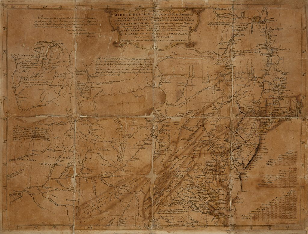 "Lewis Evans ""General Map of the Middle British Colonies in America,"" 1755."