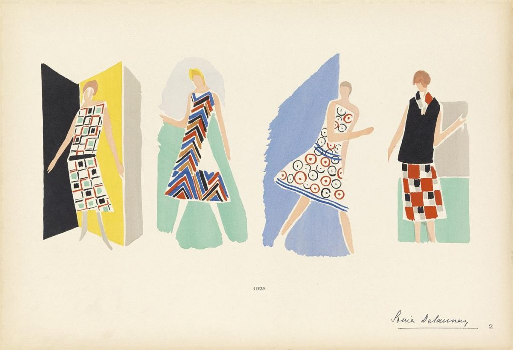 Illustration of four women in four different dress designs from by Sonia Delaunay.
