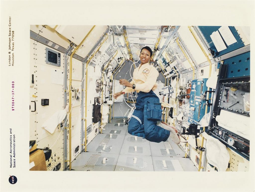 astronaut Mae Jemison floating in an anti-gravity chamber