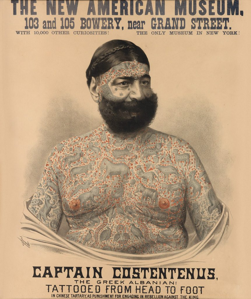 A poster of Captain Costentenus, a tatooed man from head to toe, for The New American Museum in 1876.
