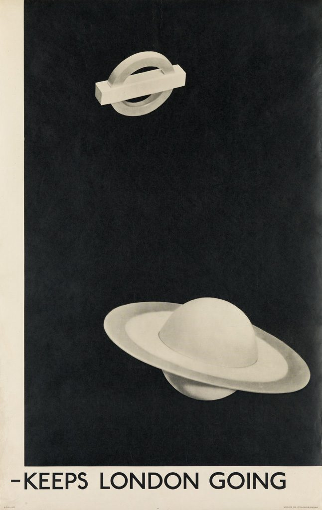 "A black and white poster of the London underground symbol and Saturn with the words ""Keeps London Going"" across the bottom. By Man Ray."