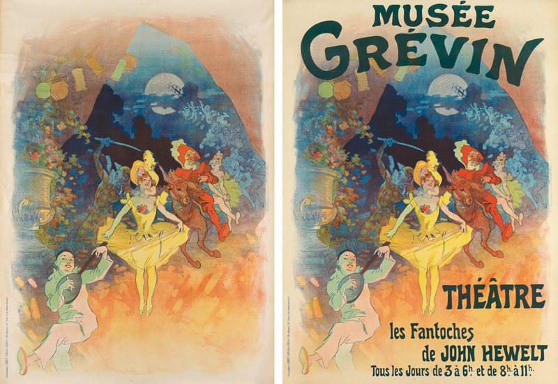 Variants of Jules Chéret's Musée Grévin / Théåtre les Fantoches de John Hewelt, 1900, with and without the text.
