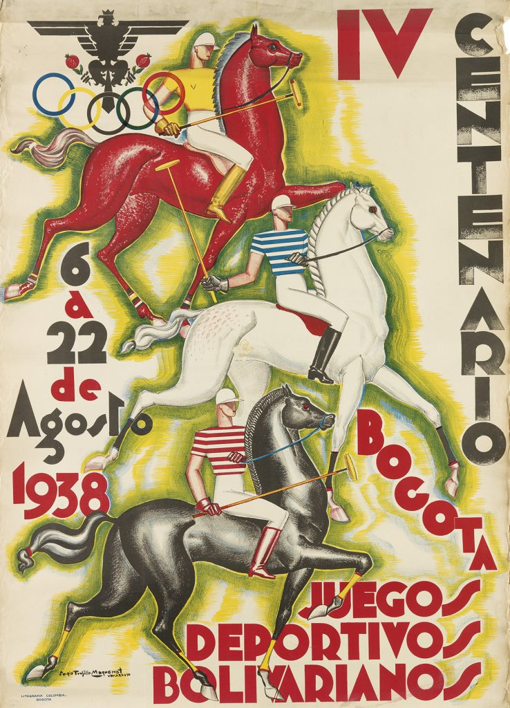An Art Deco poster for the first Bolivarian Games in 1938 by Colombian artist Sergio Trujillo Magnenat. The work features three polo riders.
