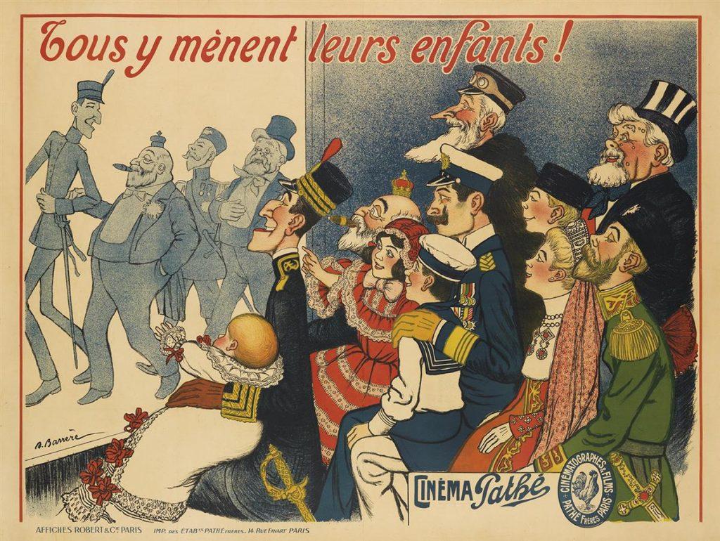 Adrien Barrère, Cinéma Pathé / Tous y Mènent Leurs Enfants!, poster for a french cinema, circa 1909.
