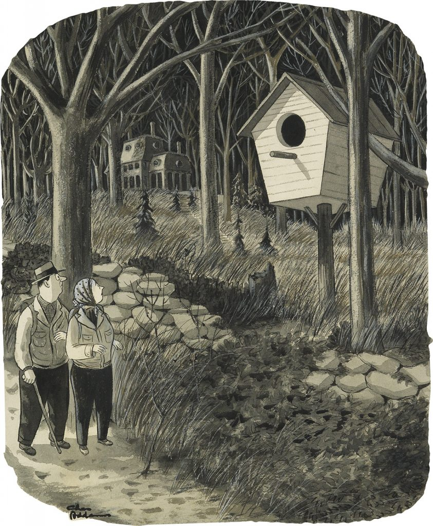 Charles Addams, watercolor, ink and wash drawing of a couple passing a giant bird house for The New Yorker, 1948.