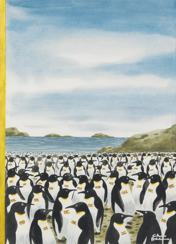 Charles Addams, Penguin Convention, watercolor and correction fluid drawing for the cover of The New Yorker featuring a colony of penguins, 1977.