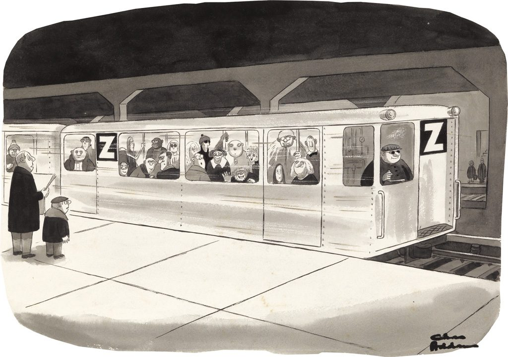 Charles Addams, watercolor, pen and ink drawing of the Z subway line featuring Uncle Fester, Wednesday Addams and Grandmama from The Addams Family, 1979.