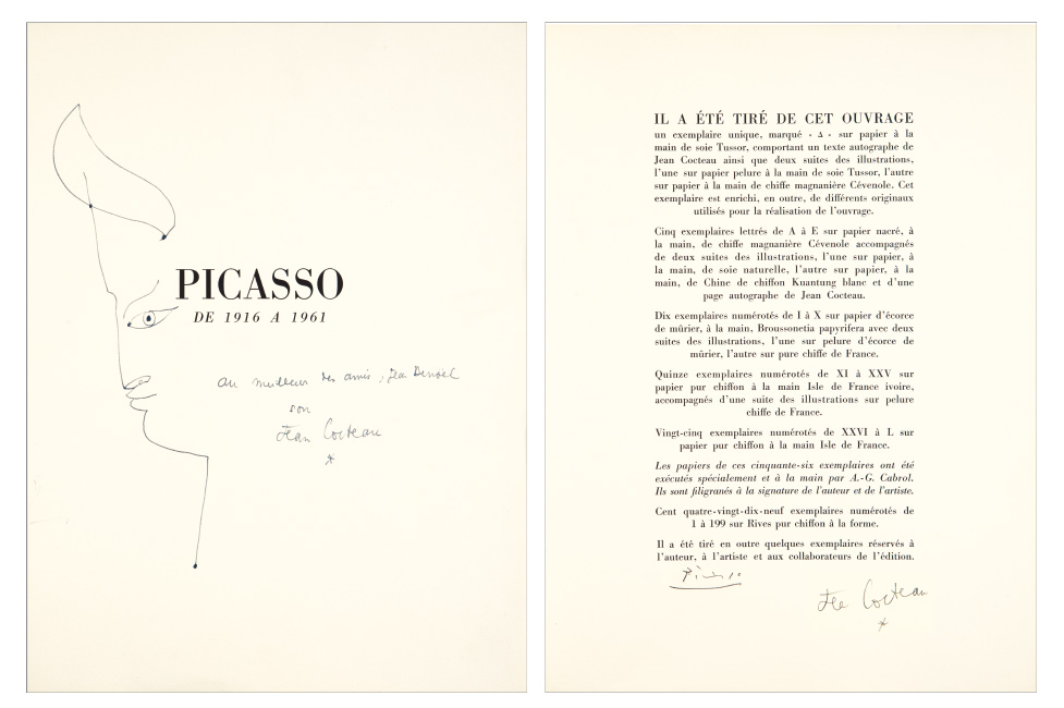 Jean Cocteau, Picasso de 1916 à 1961, illustrated with 24 lithographs by Picasso, signed by both, Monaco, 1962.