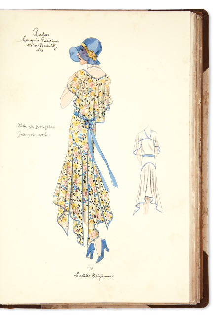Croquis Parisienes: Dress Edition for the Spring / Summer Season, one bound volume by the Atelier Bachwitz with 180 lithographic fashion plates with hand-coloring, Paris 1930.