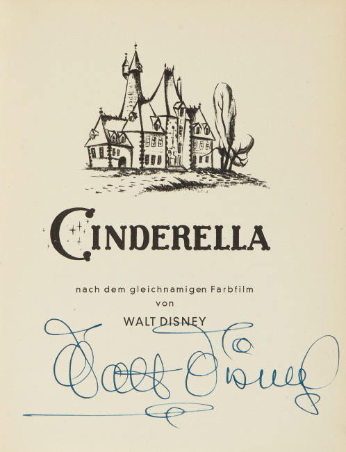 Lot 193: Walt Disney, Perrault's Cinderella, signed by Disney, Stuttgart, circa 1953.