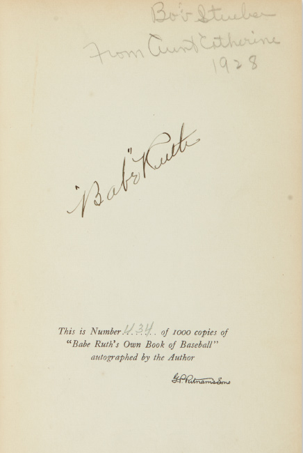 Lot 62: Babe Ruth, Babe Ruth's Own Book of Baseball, signed, with unsigned photograph postcard, 1928.