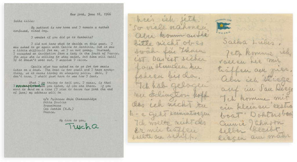 Lot 38: Greta Garbo, archive of 65 letters to close friend Salka Viertel, 1932-73.