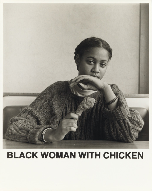 Carrie Mae Weems, Black Woman with Chicken, silver gelatin print with printed text, 1987.