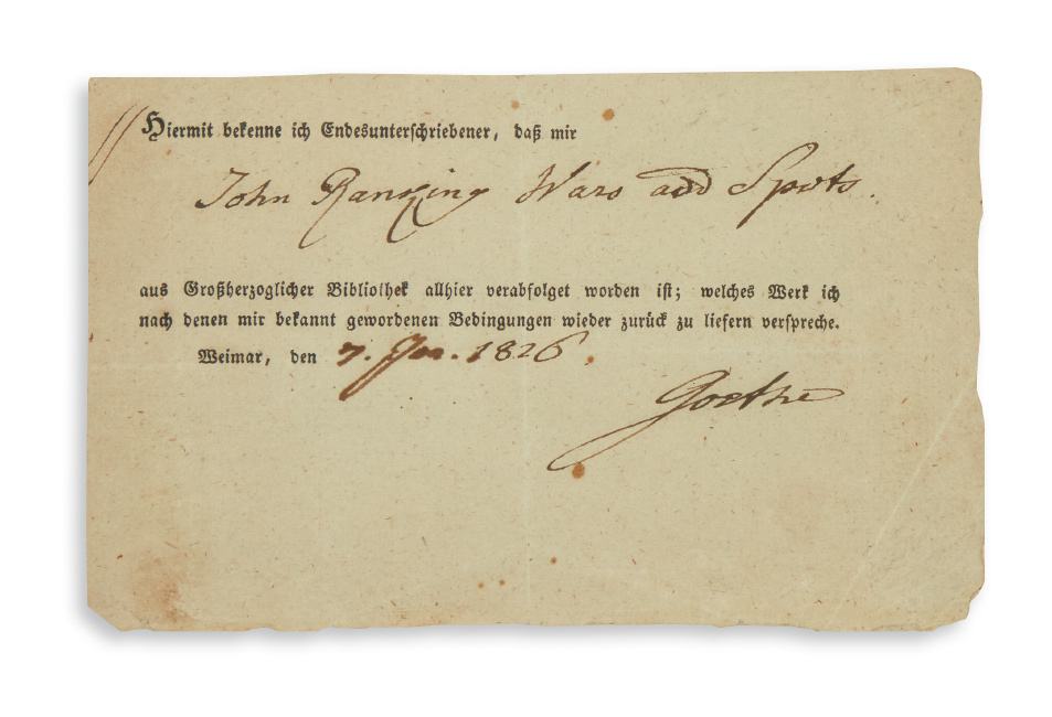 Lot 171: Johann Wolfgang Goethe, signed order slip for loan of a book from the Grand Ducal Library in Weimar, 1826.