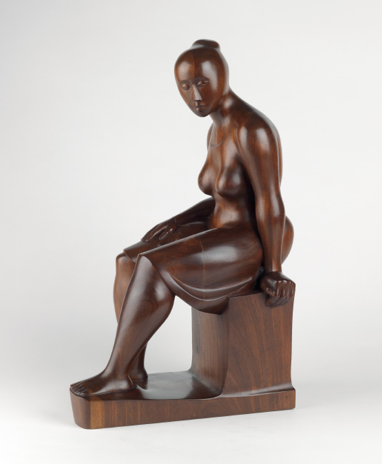 Elizabeth Catlett, Seated Woman, carved mahogany, 1962. $100,000 to $150,000.