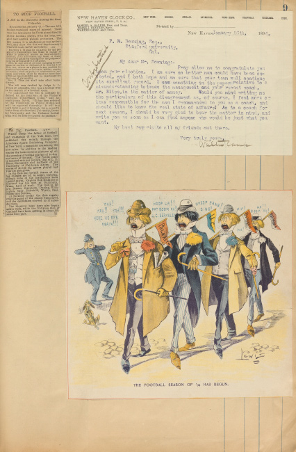 Scrapbook on early Stanford football, including letters from Walter Camp, 1893-95 and 1931.