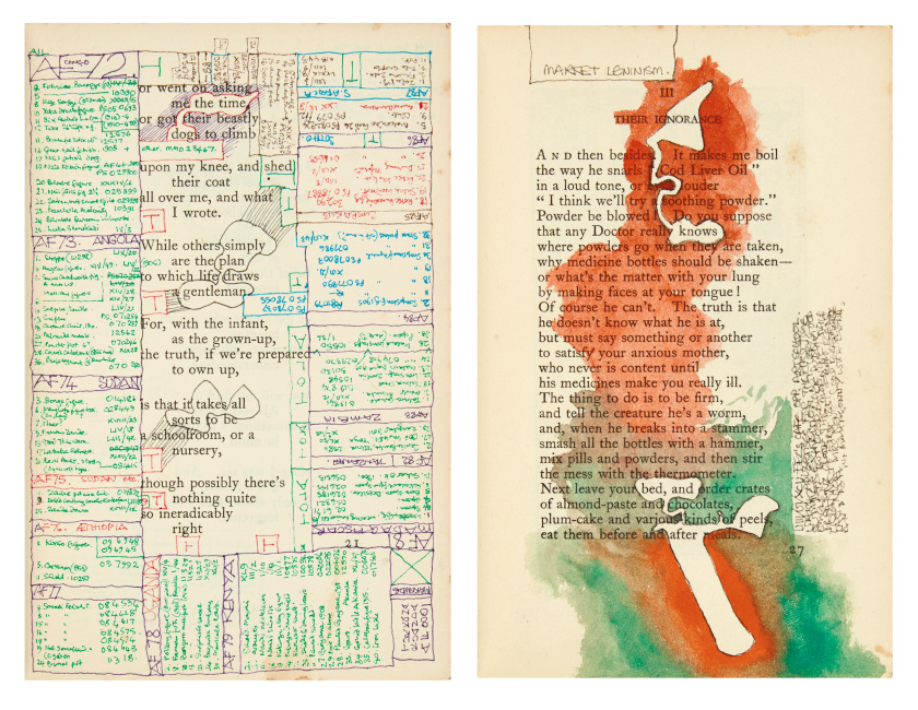 Lot 431: Tom Phillips, Café Society III, micrographic diary with manuscript annotations, drawings and collage in Humbert Wolfe's Cursory Rhymes, London, 1993.
