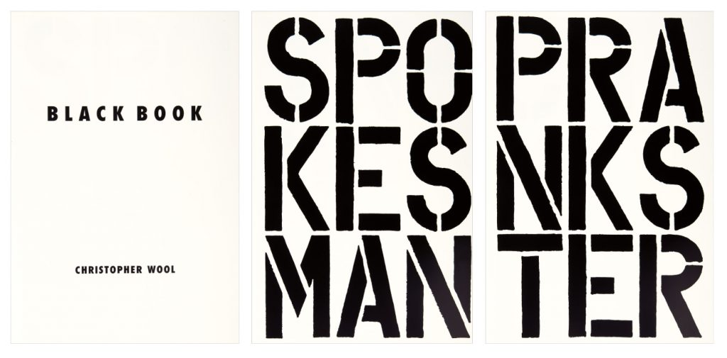 Lot 425: Christopher Wool, Black Book, 17 screen prints, 1989.