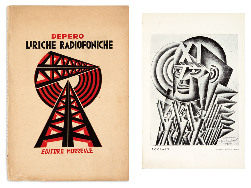 Lot 392: Depero Fortunato, Liriche Radiofoniche, signed and inscribed by Depero to fellow Italian futurist Paolo Buzzi, and by publisher Giuseppe Morreale, 1934.